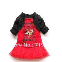 fashion kids girl cartoon Minnie print lace dress / black cape,chiffon lace, red pink cute dress GQ-306