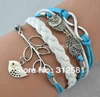 Min order $10 (Can Mix) DIY leather,suede,velvet, Infinity bangle bracelet Owls Lucky Branch/ Bird swallow,owl,robin Bracelet