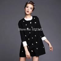 2014 autumn Women's Slim black Trench plus size Desigual Coat Fashion beaded Trench Coat m,l,xl,2xl,3xl,4xl,5xl