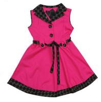Girls' Dresses New Arrival 2014 Plaid Girl Dress Rose Beige Brand Designer Summer 100% Cotton Girls Clothing Wholesale Robe