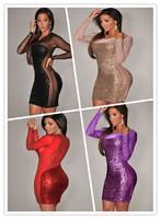 2014 Black/Red/Khaki Mini All-Over Sequin Sheer Women Bodycon Club Summer Dress Long Sleeve Drop Shipping
