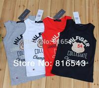 5 PCS/LOT 100% high quality Boys t shirt 2014 NEW  Summer Kids clothes boys clothing Sleeveless O-Neck Letters Boy's t shirt