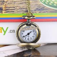 Promotion 5pcs/lot Vintage Style Steampunk Quartz Dress Pocket Watch Leaves Hollow Bronze Necklace Pendant Chain Clock 19318