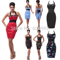 Grace Karin Red Women Summer Print Polka dots 50s rockabilly 60s Retro swing Floral Vintage Evening Dress robe de soiree 2015