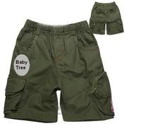 90cm - 125cm Brand army green boys short ,100% cotton solid color kids pants, loose children pants, polo pants, kids clothes