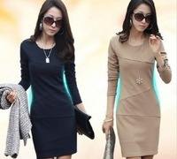 Women's OL Long-sleeve dress Elegant Plus Size Slim Knee-Length One-Piece Dress Plus size S-XXL W3347