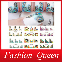 Nail Water Decal,20sheets/lot Feather Butterfly Transfer Nail Art Sticker,DIY French Stylish Nail Tip Wraps,Nail Decoration Tool