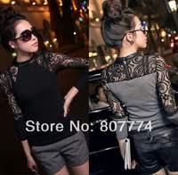 Hot Sale! 2014 Autumn and Winter T shirt Women Sexy Floral Lace Knitting Night Club Tops roupas femininas blusa renda M-XL 01011