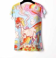 Summer Woman T shirts 3D Punk Rock T-shirt Short Women Tshirt For Women Blouses Tops For Women Animal Unicorn camiseta feminina