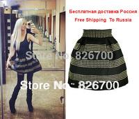Free Shipping 2014 Women New Arrival Fashion Brand Fluffy Rivet High Waist Elastic Ball Gown Plus Short Skirt For Women #A0046