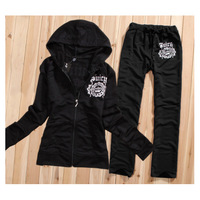 Hot sale 2014 new ladies women casual leisure fit sportswear hoodie set   Size : S,M,L