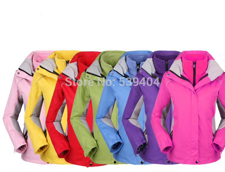 Polyester softshell and Fleece Lining 2-Layer Lady Winter Outdoor Sport Outerwear Waterproof Windproof Warm Outfit Women Jackets(China (Mainland))