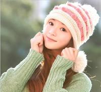Free Shipping Lovely hat The new women's fashion wool hat Ms sweet model bulb ornament knitting hat Stripe  bonnets