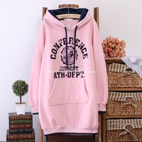 2014 New autumn winter women plus size Korean long style casual cotton red pink blue yellow pullover sweatshirt hoodie hoodies