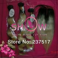 Nicki minaj Hair,#1BT27 Mix Length Ombre color Brazilian Hair Weaves 3Pcs with Middle Part/Free Style Lace closure 4Pcs Alot