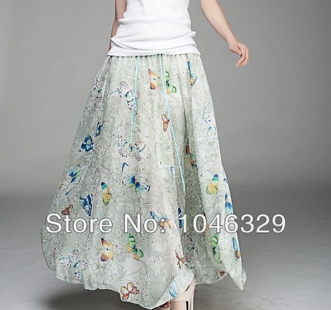 Women New Fashion Circle Big Hem Elegant Chiffon Flower Print Long Skirt BSQ002(China (Mainland))