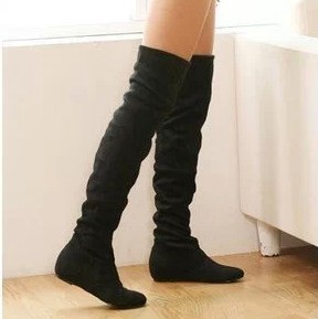 New arrival 2013 ladies fashion flat bottom boots for women autumn winter over the knee high leg suede boots low heels brand(China (Mainland))