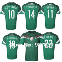 Mexico Jersey 2014 Mexico Home Green Soccer Jersey  World Cup R.Marquez G.Dos Football shirts Camisetas de futbol Dropshipping