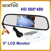 Parking New 5 Inch 800*480 Car Hd Display Rear View Mirror Monitor 2ch Video Input ,free Shipping