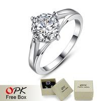OPK JEWELRY Classic Prong Setting 1.88 ct. CZ Diamond Wedding Rings Platinum Plated 939