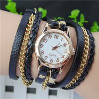 New Hot Women Dress Watch High-Quality Women's Punk Retro Leather Strap Bracelet Laminated Quartz Watches
