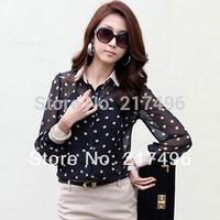 Women Chiffon Polka Dots Blouse Shirts 2014 new fashion Black Long sleeve tops Slim OL commuter Plus Size Chiffon Bluses Hot