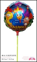wholesale 8.5inch Galinha pintadinha foil balloon with stick cute round chicken mylar balloons for baby birthday party