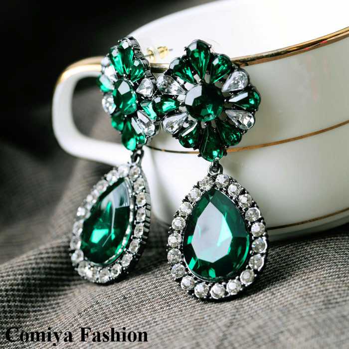 New 2014 free shipping shourouk flower big green dangle crystal earrings for women cc brincos brand jewelry bijoux sale lot gift(China (Mainland))