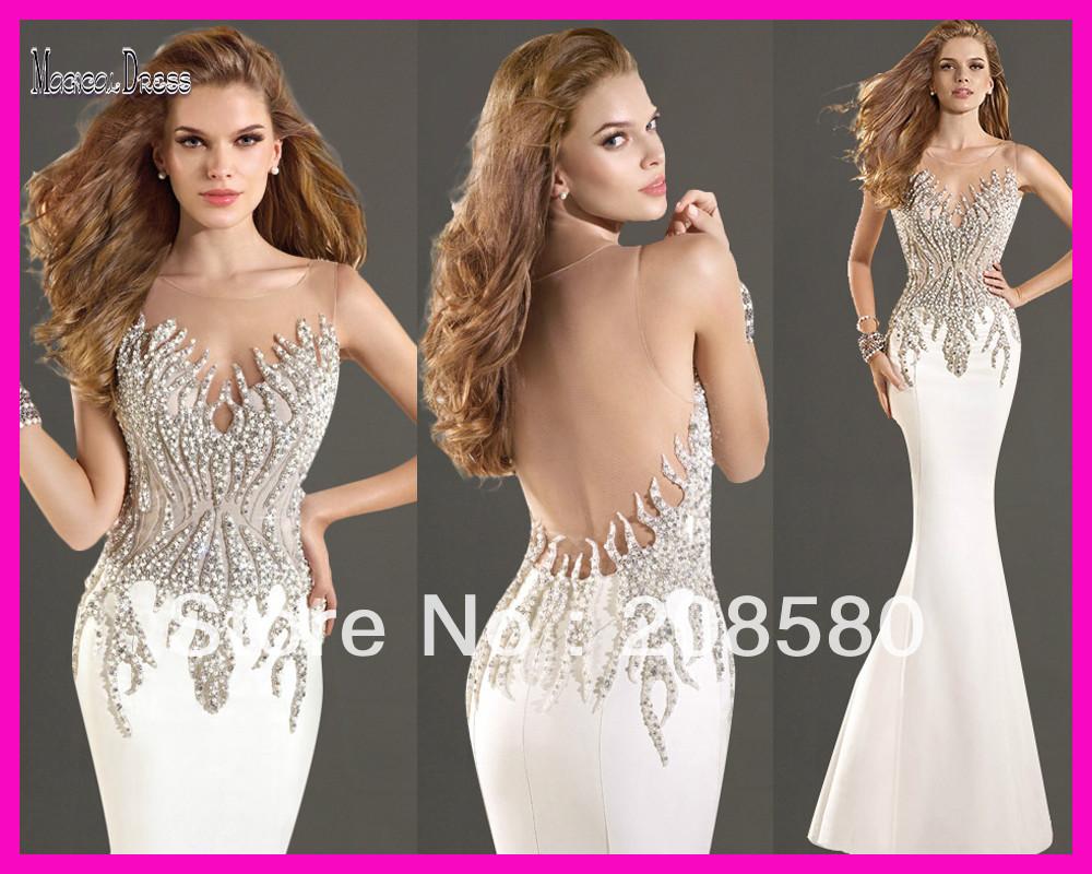 Annie's Yule Ball Gowns Tarik-Ediz-Scoop-Sheer-Tank-White-Beaded-Backless-Mermaid-Prom-Dress-Evening-Gown-2014-E5588