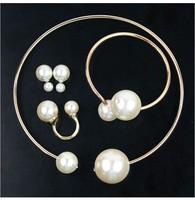 fashion jewelry sets charmsing big pearl earrings  bracelet bangle necklace set designer wholesale free shipping