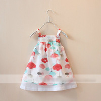 free shipping!wholesale baby kids 2-7 years flower suspender cotton layered dress/sundress