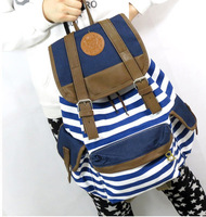 2014 New Free Shipping Striped Canvas Printing Backpack School Bag For  Girls College Mochilas Women Casual Travel Bagpacks Q032