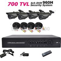 Free Shipping 4 CH DVR Kit 1080P HDMI FULL D1 CCTV DVR Recorder 4pcs IR Night Vision Camera System Kit