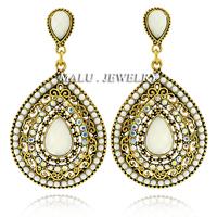 2014 New American And Europe Big Earrings Resin Gem Rhinestone Fashion Earrings Noble Atmosphere Vintage Jewelry For WomenER061