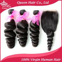 """1 Piece Lace Top Closure with 3Pcs Hair Bundle,4pcs/lot,Brazilian Virgin Hair Extension,Loose Wave 12""""-28"""""""