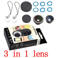 1PCS Free shipping High quality universal magnetic 3 in 1 Fisheye Lens + Macro  + Wide mobile phone lens for iphone Samsung
