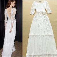 2015 runway dress women's High quality long vintage dresses brand dresses