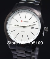Hot items CURREN 8091 Brand Men's Casual Business Quartz Steel Watch with Calendar Waterproof Wristwatch 2COLOR