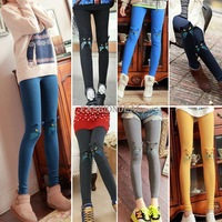 2014 New Hot sale 7 Colors Fashion Women's cat embroidery Cute Pants cotton Leggings 7 Colors 19845