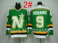 2014 New cheap ICE Hockey Jerseys china Dallas Stars Jerseys  North Stars 9 Mike Modano Green home jersey Free shipping