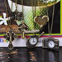 Promotion!!! 5pcs/lot Vintage Style Bronze Steampunk Quartz Necklace Pendant Chain Clock Fashion Cute Pocket Watch 6 Types 19880