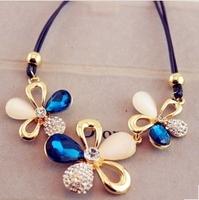 4 Colors Fashion Western statement elegant Chain Newest Rinestones Cat Stone Pendant choker necklace jewelry