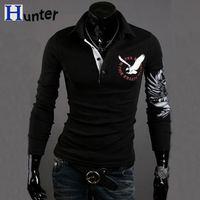 Angle Pattern Design Hot Full Sleeve Turn-down Collar Fashion Men T shirt totem mens shirts sale t shirt men