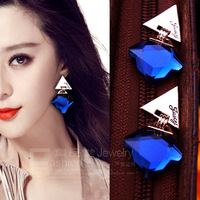 Fashion stud earrrings accessories free shipping sparkling blue big crystal triangle stud earring female earrings no pierced