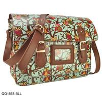 5 Colors Free Shipping New 2014 Printing Owl Women Handbag Front Buckle Detail Messenger Satchel Bag QQ1668