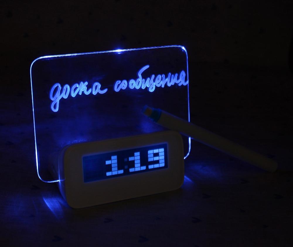 Free Shipping Blue LED Fluorescent Message Board Digital Alarm Clock Hub Calendar Night light 95256(China (Mainland))