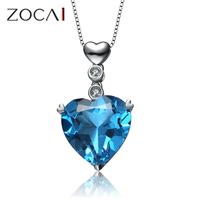 New Arrival ZOCAI AURORA 7 CT CERTIFIED BLUE TOPAZ HEART DIAMOND 18K WHITE GOLD PENDANT+ 925 STERLING SILVER CHAIN NECKLACE