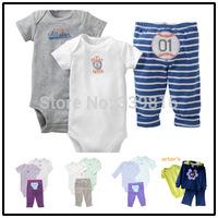 Retail 2014 New Arrival Original Carter's Newborn Neonate Baby Girl/Boy's 3-piece Bodysuit Clothing Sets for Unisex 3M/6M