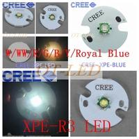 Freeshipping!10pcs X Cree XPE XP-E R3 3W LED Emitter Neutral White Cool White Red Green Blue Royal Blue LED with 16MM heatsink