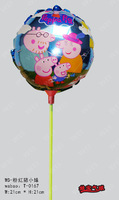 New arrivel 20pcs/lot 21*21cm peppa  pig family  foil balloon with stick and cup for childs toys Aluminium helium balloon